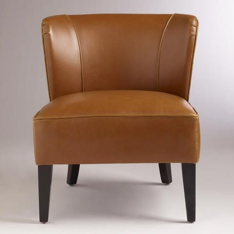Caramel Quincy Leather Chair   World Market $179.99