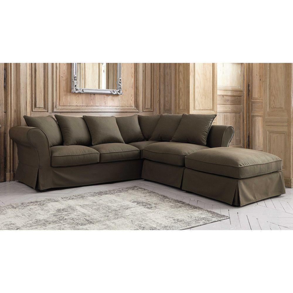 Canape D Angle Convertible 6 Places En Coton Taupe Corner Sofa