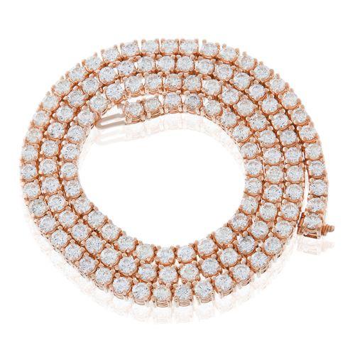 14k Rose Gold 17 6ct Diamond Tennis Chain Products Gold Jewelry Diamond Jewelry