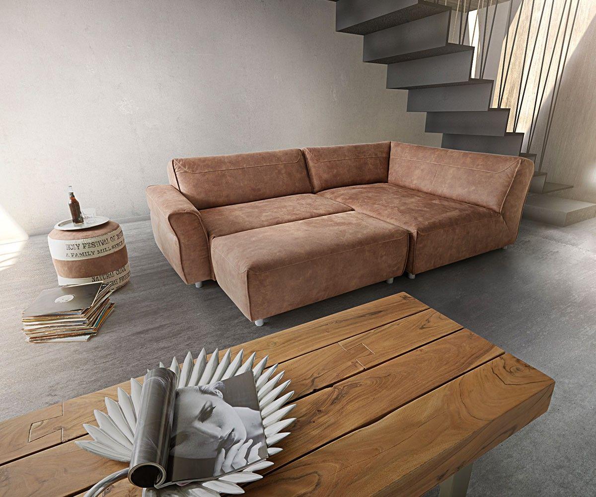 Ecksofa Loft 255x160 Braun inklusive Hocker by Ultsch | Premiumsofas ...