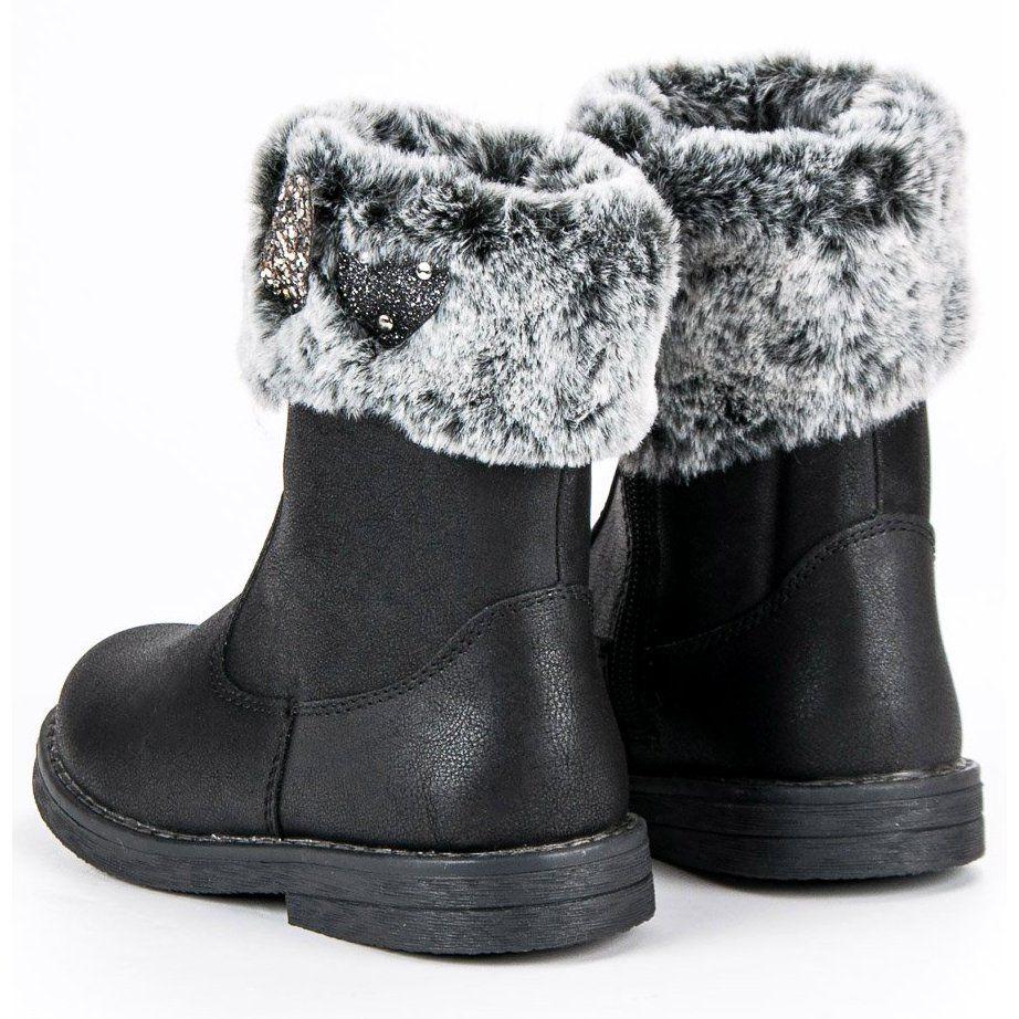 Kozaki Dla Dzieci Americanclub American Club Czarne Cieple Kozaki American Boots Winter Boot Shoes