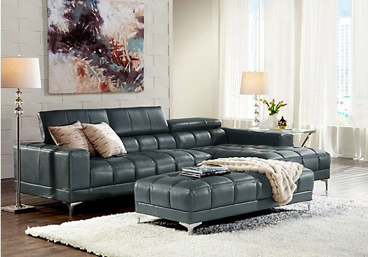 Shop For A Sofia Vergara Sybella Blue Blended Leather 4 Pc Sectional Living Room Plus Hdtv At Rooms To Go Find Leather Living Rooms That Will Look Great In