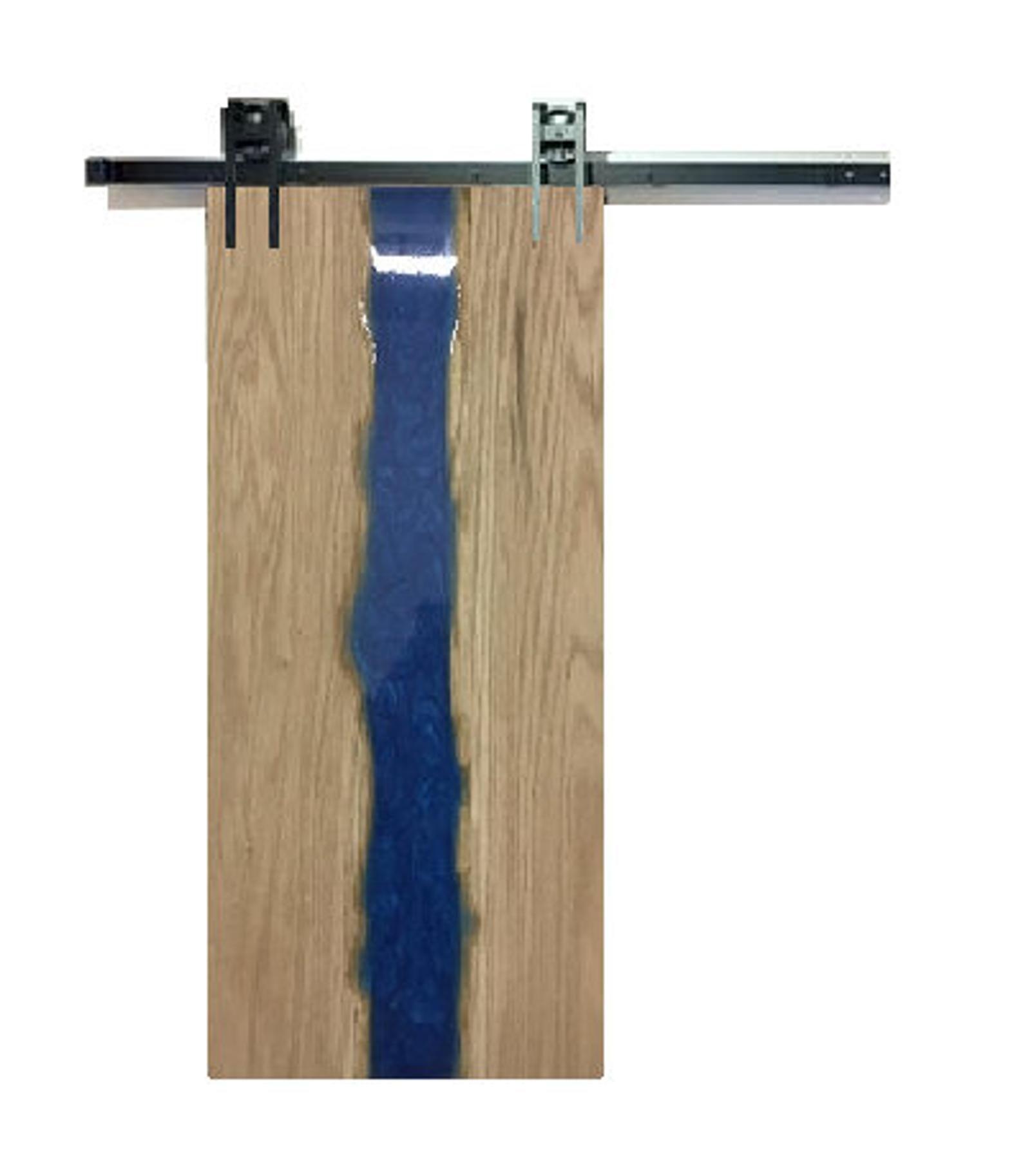 Oak Barn Door With Blue Epoxy Resin Etsy Barn Door Doors Door Design
