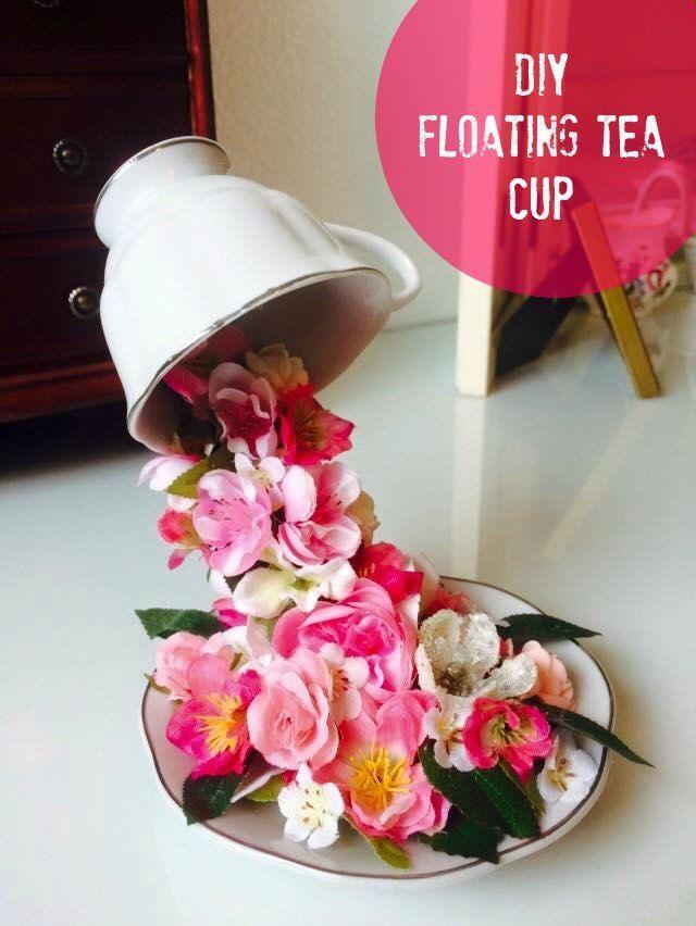 How To Make Diy Floating Tea Cup Teacup Crafts Floating Tea Cup Crafts