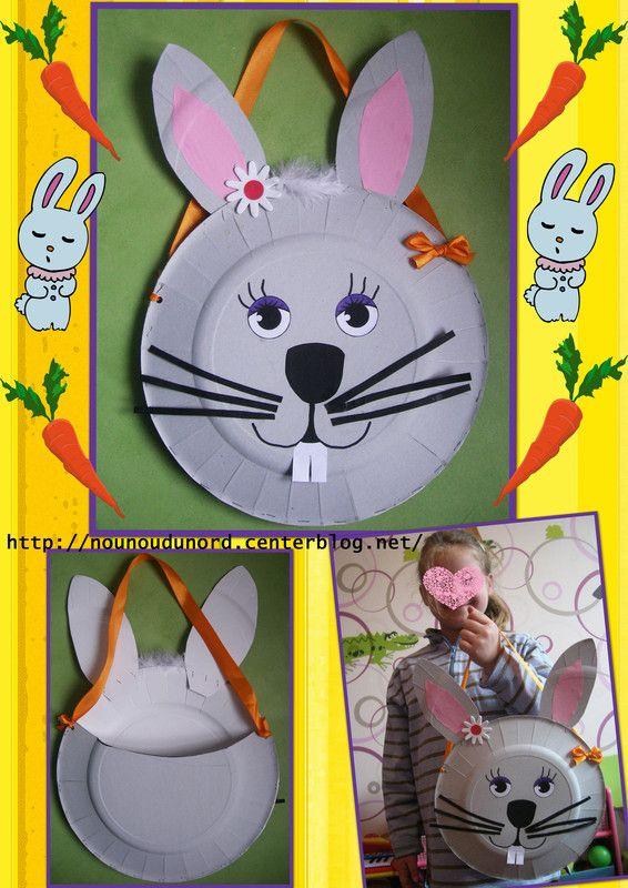 Panier de p ques en forme de t te de lapine explications sur mon blog p ques activit s et - Panier paques maternelle ...