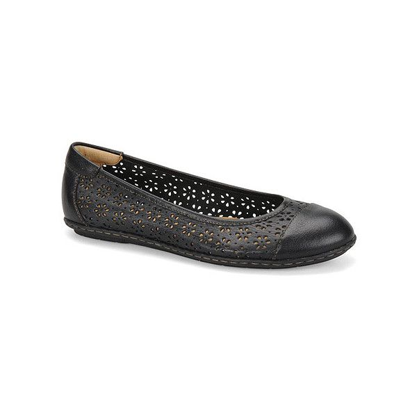 Softspots Carajean ($59) ❤ liked on Polyvore featuring shoes, flats, black black calf, casual shoes, women, cap toe ballet flats, black flat shoes, black ballet pumps, perforated ballet flats and slip on shoes