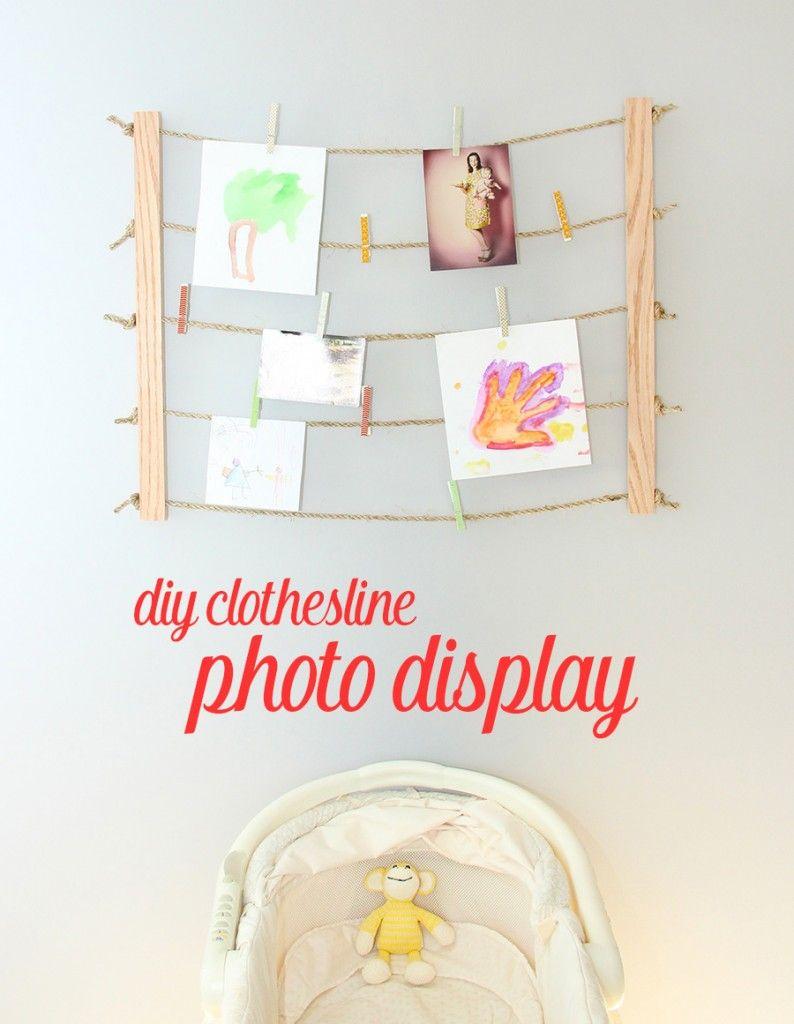Clothesline Photo Display Diy Photo Frame Diy Photo Display Clothesline Photo Display Photo Displays