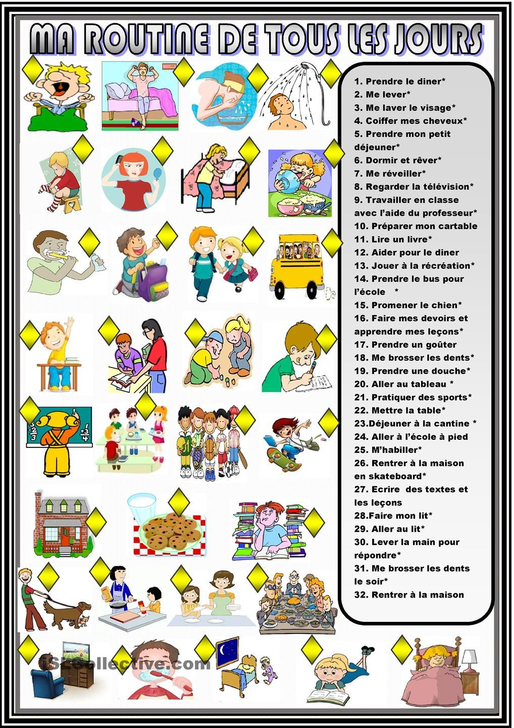 Mes Routines Journalieres Association Daily Routine Worksheet Daily Routine Routine