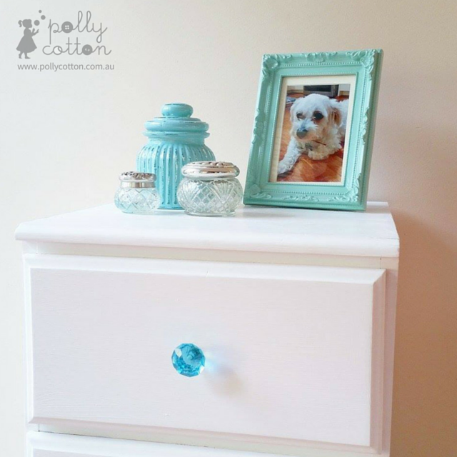 Polly Cotton White Bedside Table with Blue Crystal Glass Drawer Knob ...