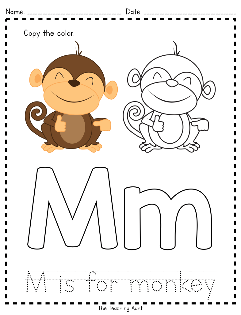 M is for Monkey Paper Pasting Activity Letter