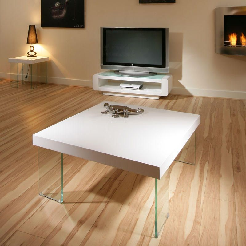 Beautiful Modern Coffee Tables: Modern Beautiful Square Gloss White Coffee Table / Tables