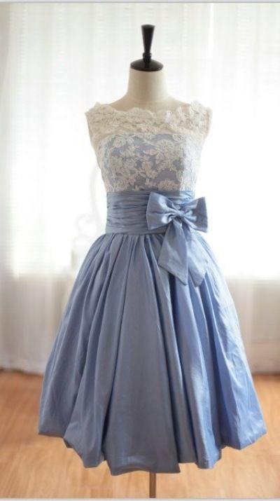 Vintage-Inspired Lace Blue Taffeta Wedding Dress