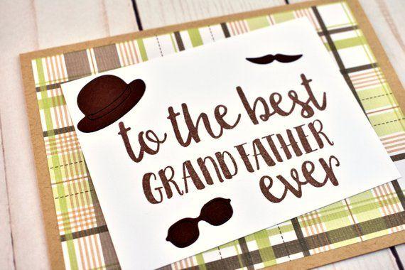 Items similar to Handmade Grandpa Birthday Card - Dapper Birthday Card for Grandfather - Mustache Grandfather Birthday Gift - Plaid Grandfather Birthday Card on Etsy