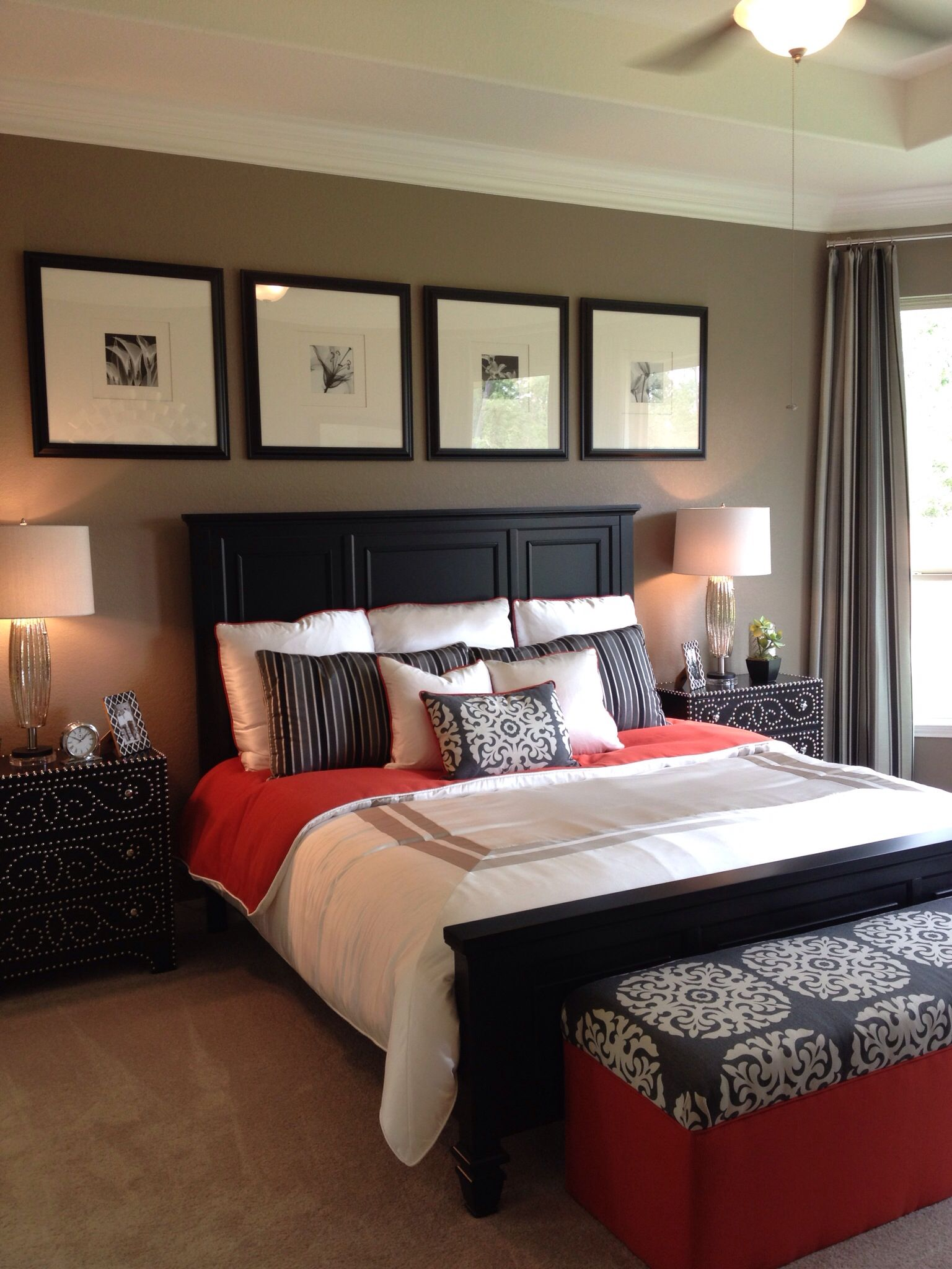 Love the orange in this bedroom   Small bedroom ideas for ...