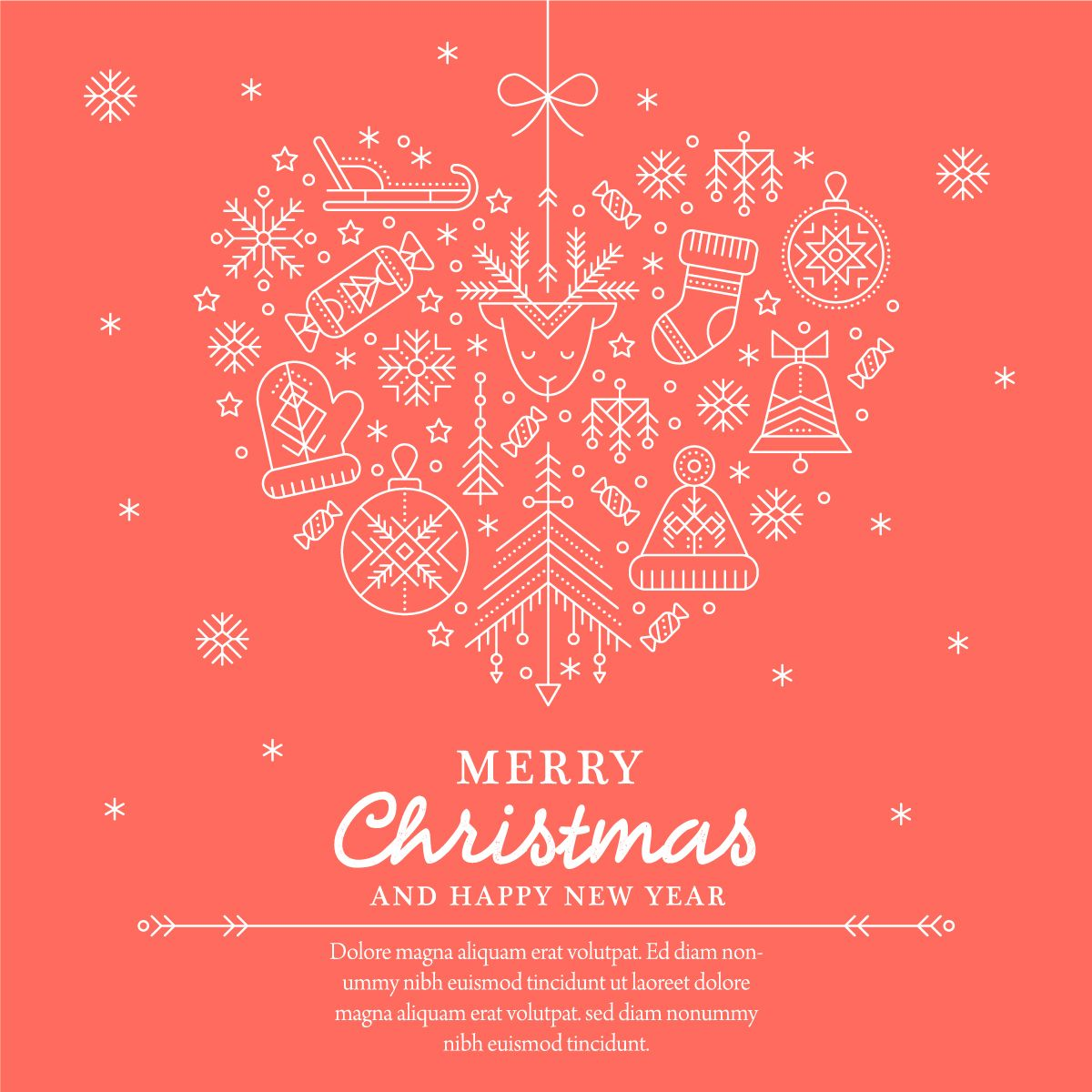 Christmas Line Art Set Of Icons And Design Layouts Card Template
