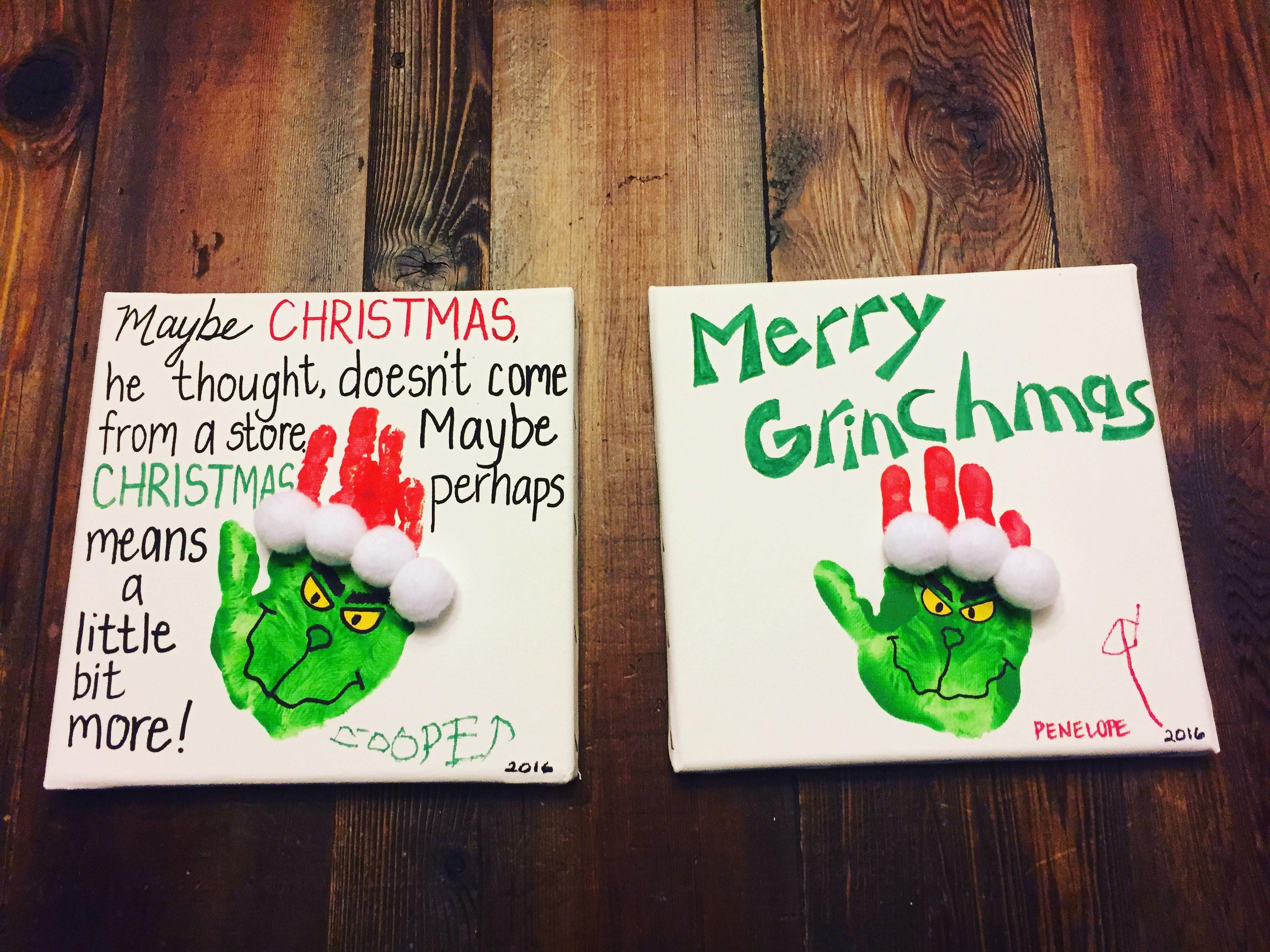 Grinch Handprint Art Preschool Christmas Crafts Fun Christmas Crafts Christmas Crafts For Kids