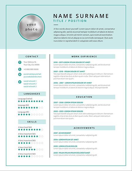 Medical CV resume template example design for doctors white and