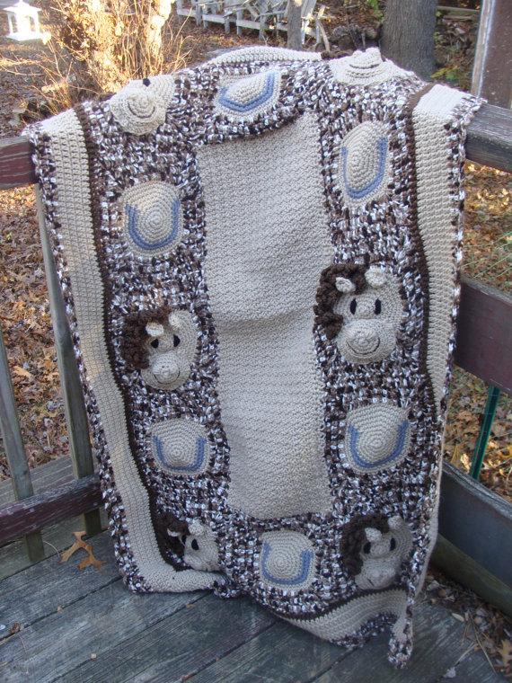 Horse Baby Afghan crochet pattern digital pdf 747 | Caballos bebés ...