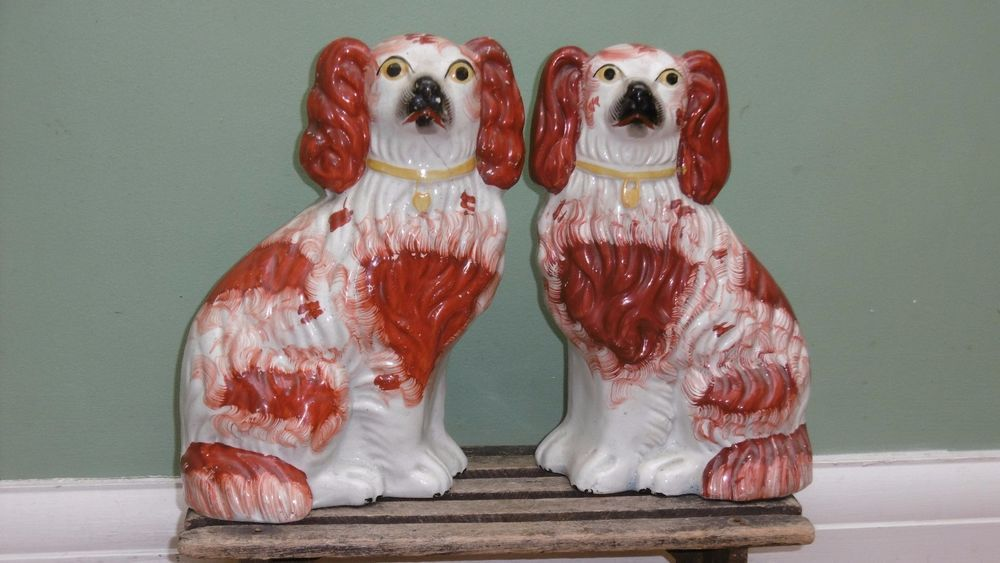 SUPERB Pr 19thc STAFFORDSHIRE RUSSET RED & WHITE SPANIEL DOGS  C.1860