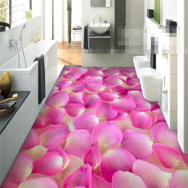 Aliexpress Com Buy European Style 3d Floor Tiles Mural: Modern Sticker 3D Floor Painting Bathroom Mural Romantic
