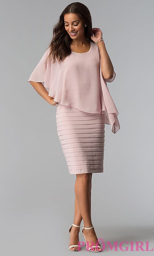 ee81a879ac2 Short Mother-of-the-Bride Dress with Attached Cape in 2019