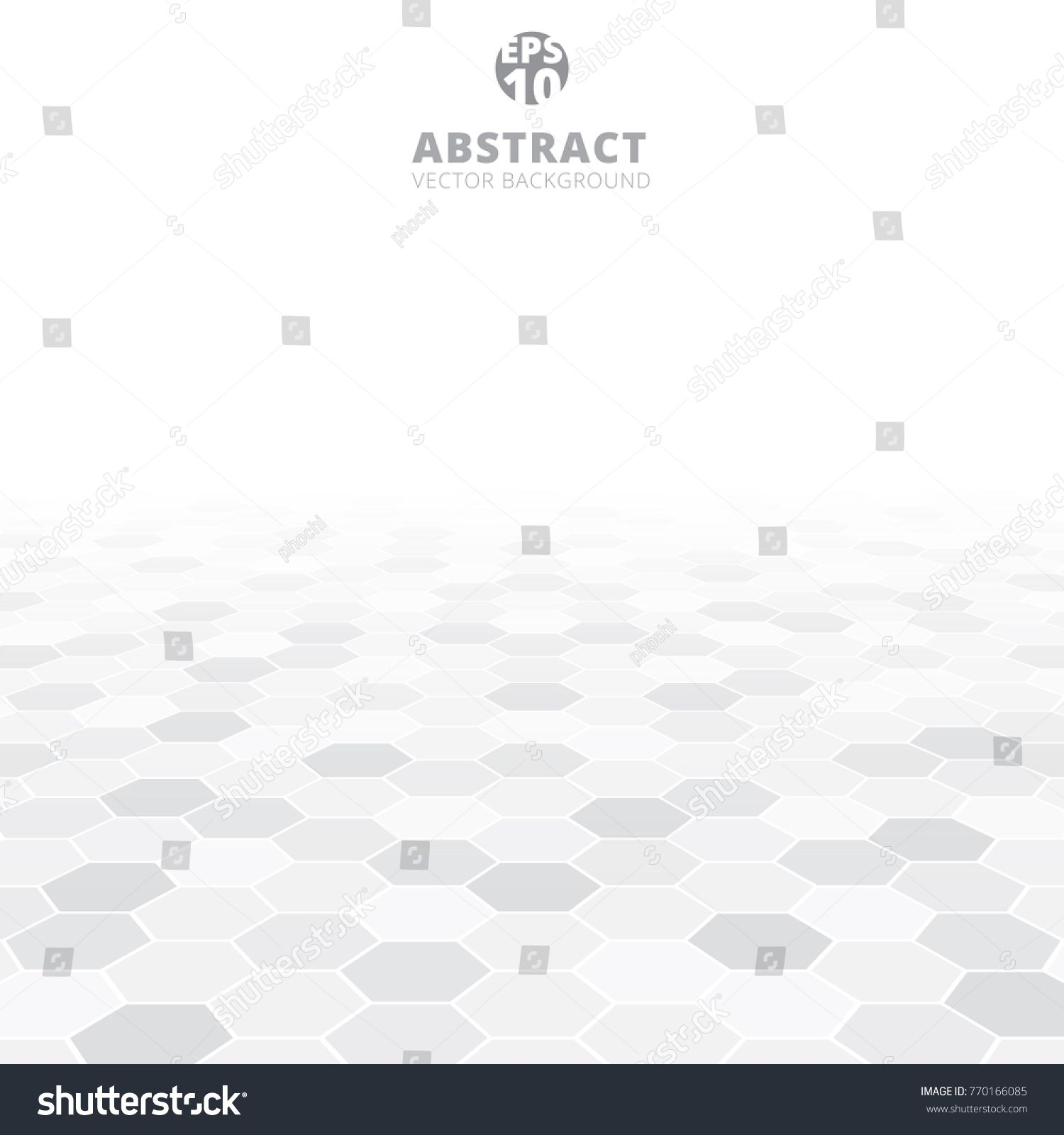 Abstract Hexagon Perspective Pattern White And Gray Color