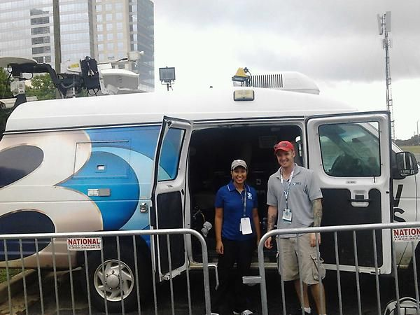 Photog Seth, and WBTV reporter Sarah Batista ready to cover the DNC Events. I was their intern for the day. Great people!