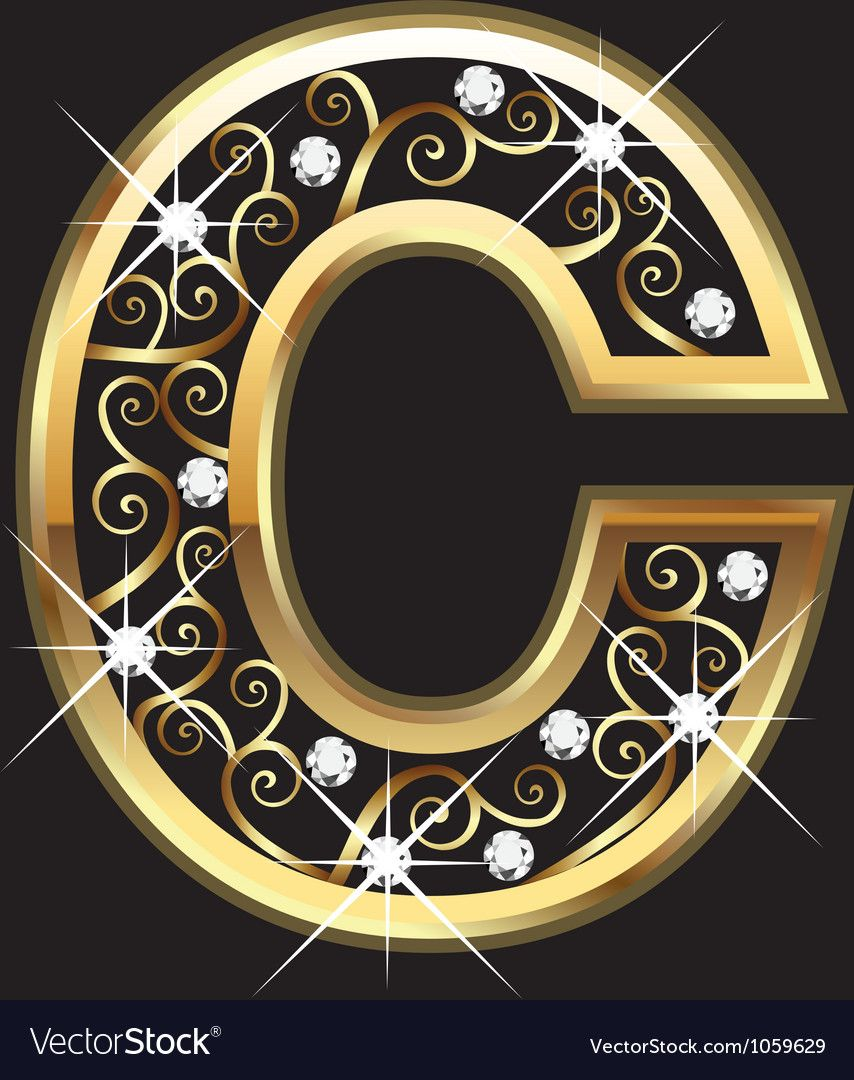 C gold letter with swirly ornaments vector image on (con