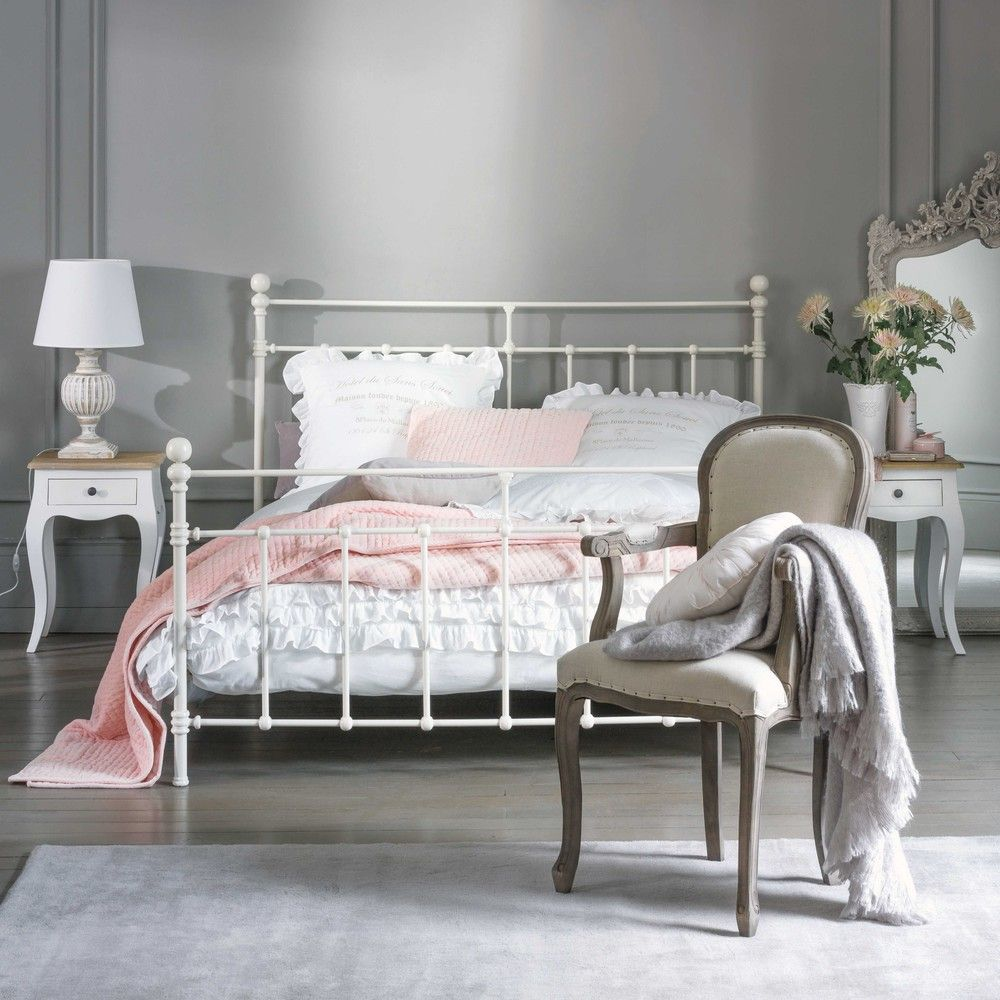 Lit Metal Metal 160 X 200cm King Size Bed In White Bedroom Maisons Du