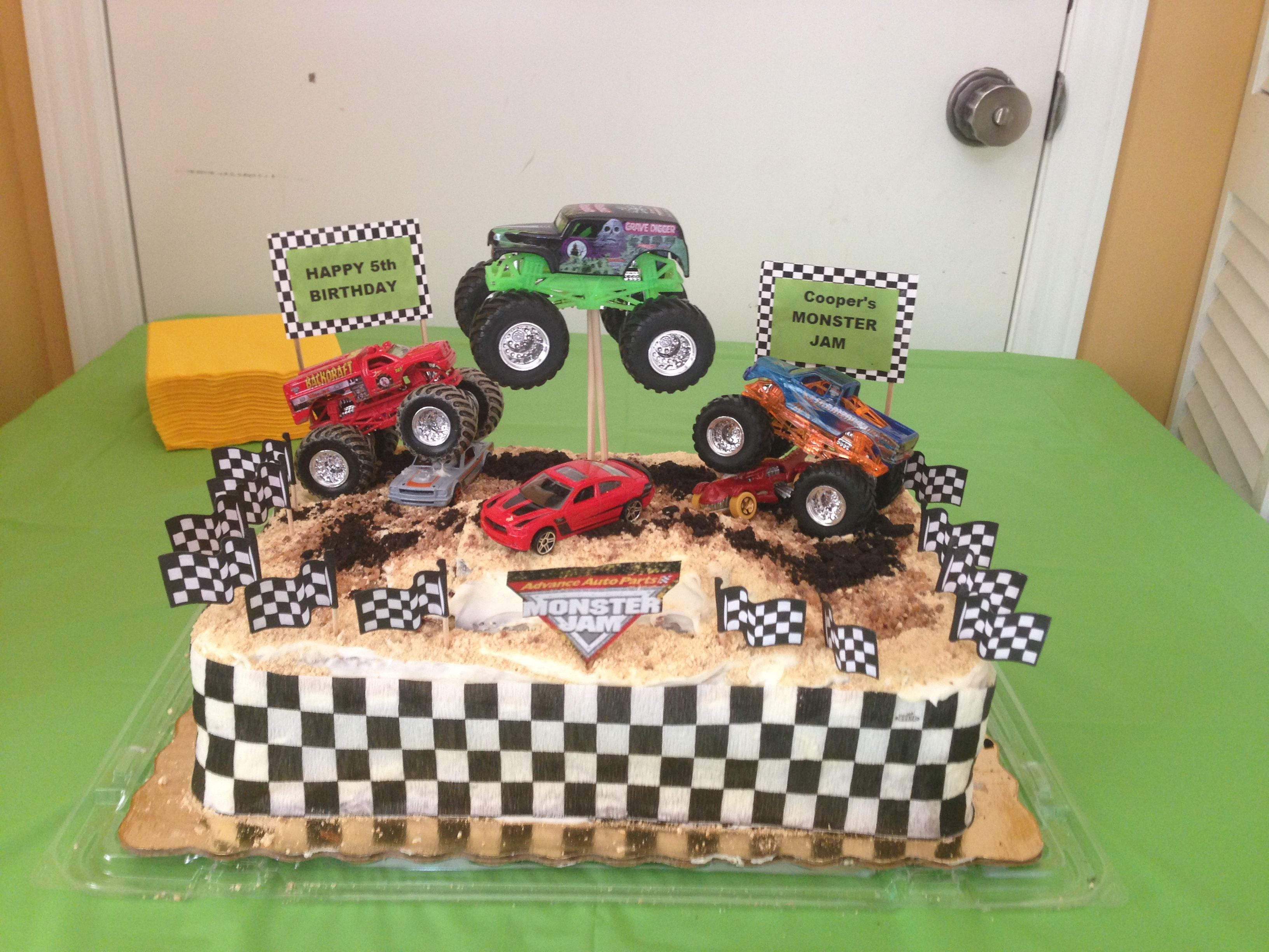 Monster jam birthday cake I used graham crackers and Heath bar