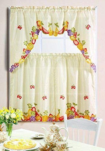 Kashi Home 3 Piece Kitchen Curtain Swag Set With Printed Design