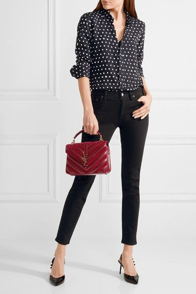 3a029affc0f0 Saint Laurent - College Medium Quilted Leather And Suede Shoulder Bag -  Claret