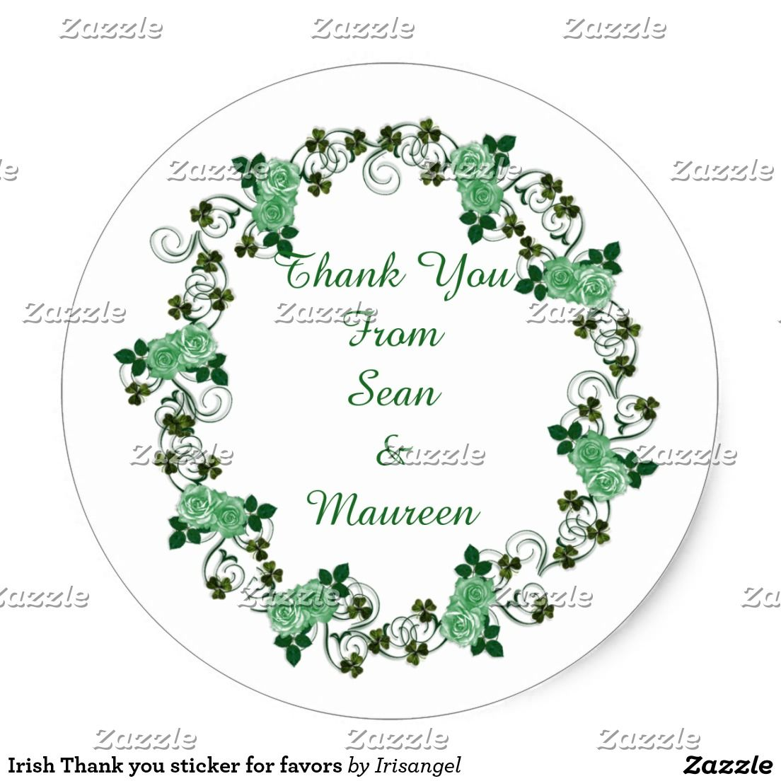 Irish Thank you sticker for favors | Favours and Wedding
