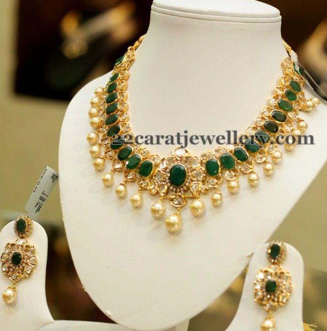 Large Pota Emerald Choker Jewelry Design Necklace Gold Jewellery Design Necklaces Jewelry