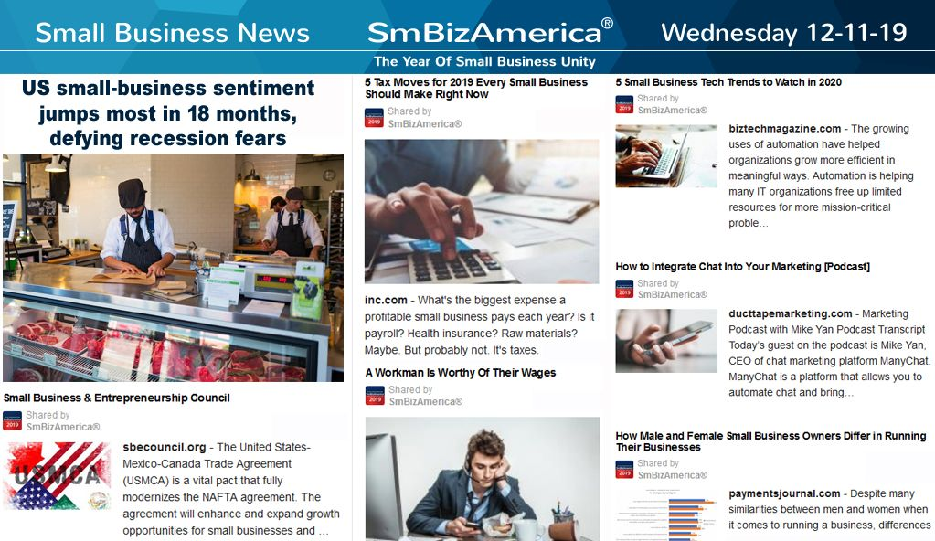 Small Business News 12 11 19 Business News Business Leadership