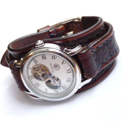 21ee9722f Hnědé pánské hodinky, vintage hodinky, mechanické | Veci na oblečenie
