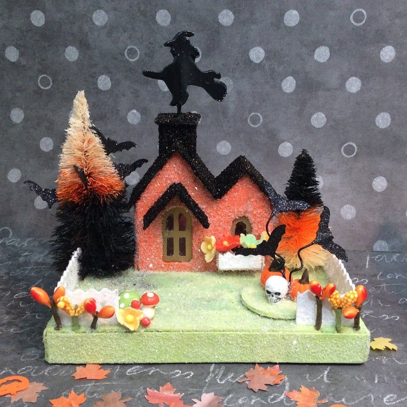 Putz Halloween Village( Small set of 4) Glitter Houses