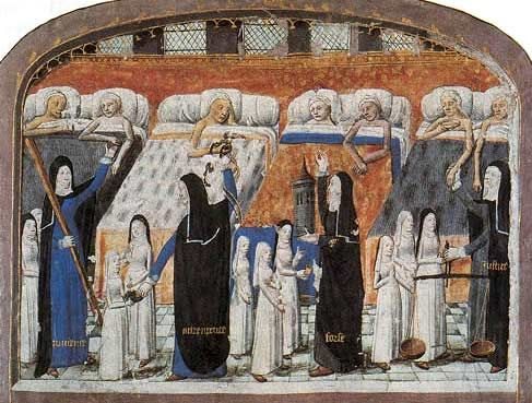 tafereel in een middeleeuws stadshospitaal voor zieken