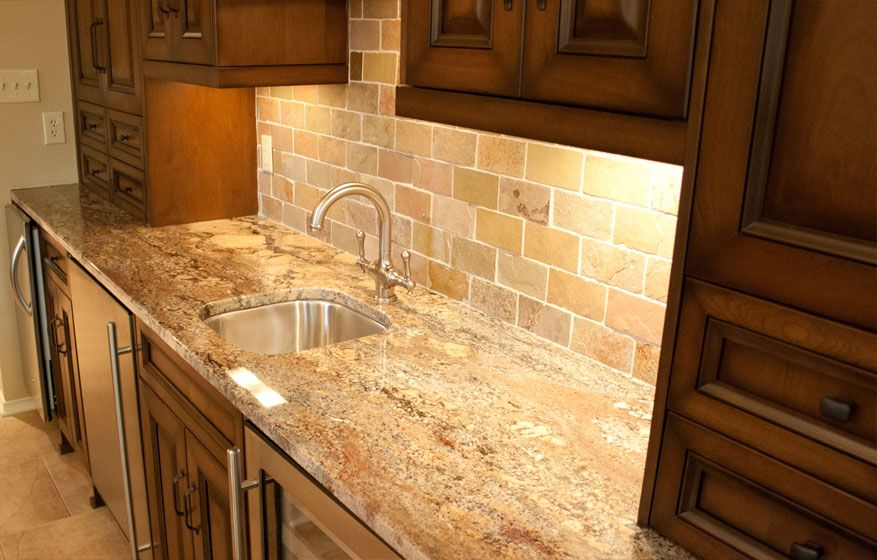 Typhoon bordeaux granite countertops kitchen subway for Tile bar top ideas