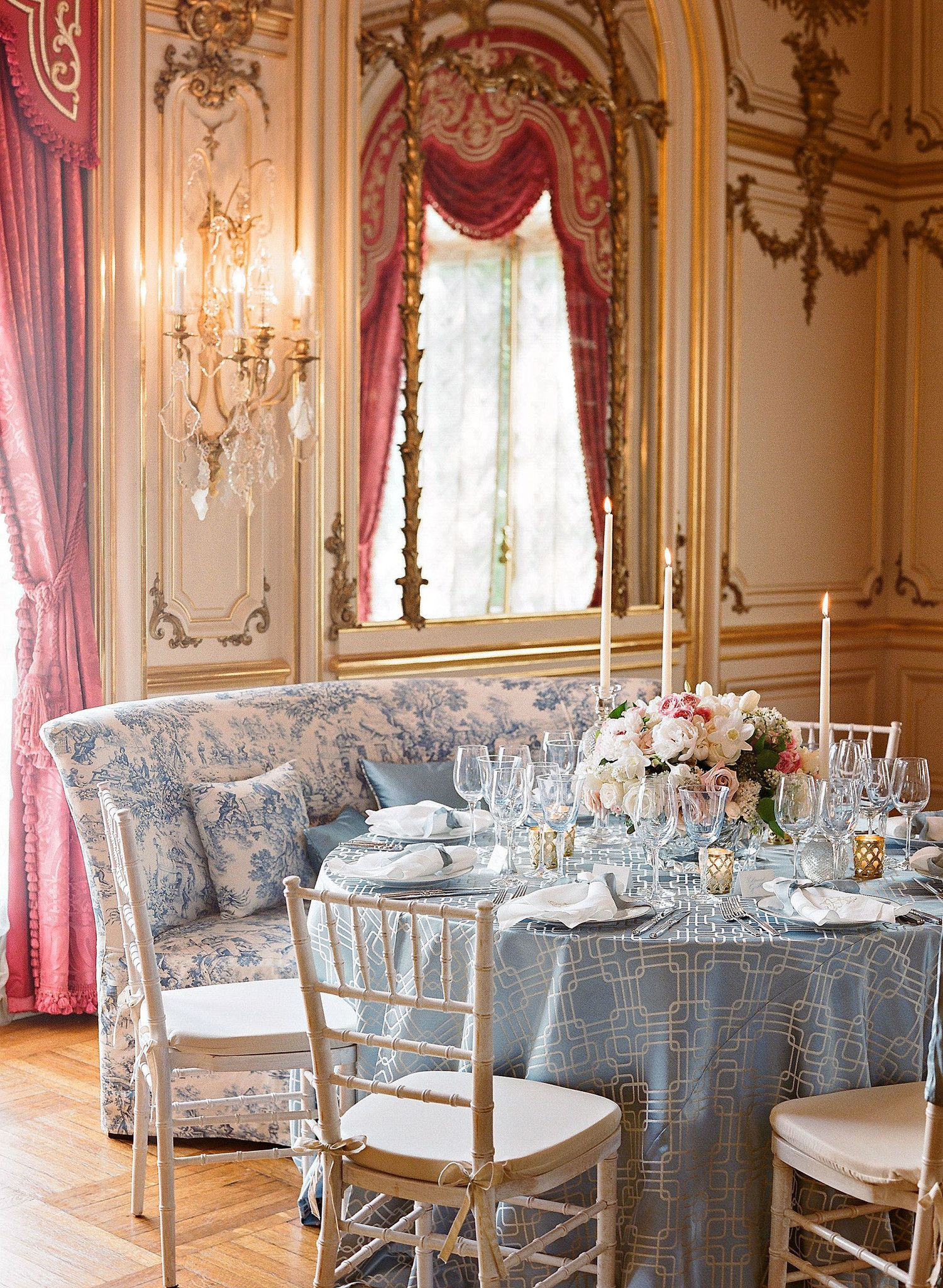 Four Custom Banquettes, Slipcovered In Toile, With Slate Blue Dupioni Silk  Pillows