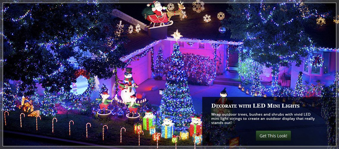Outdoor christmas yard decorating ideas christmas lights wrap trees bushes and shrubs with mini christmas lights aloadofball Images