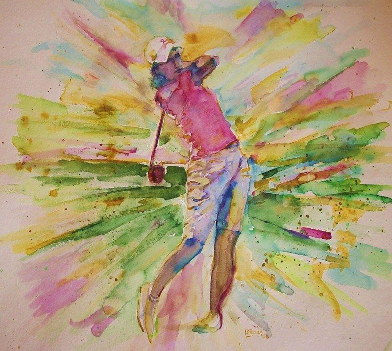 Golfers In Watercolor Golfandcountryclubart Com Joueuse De