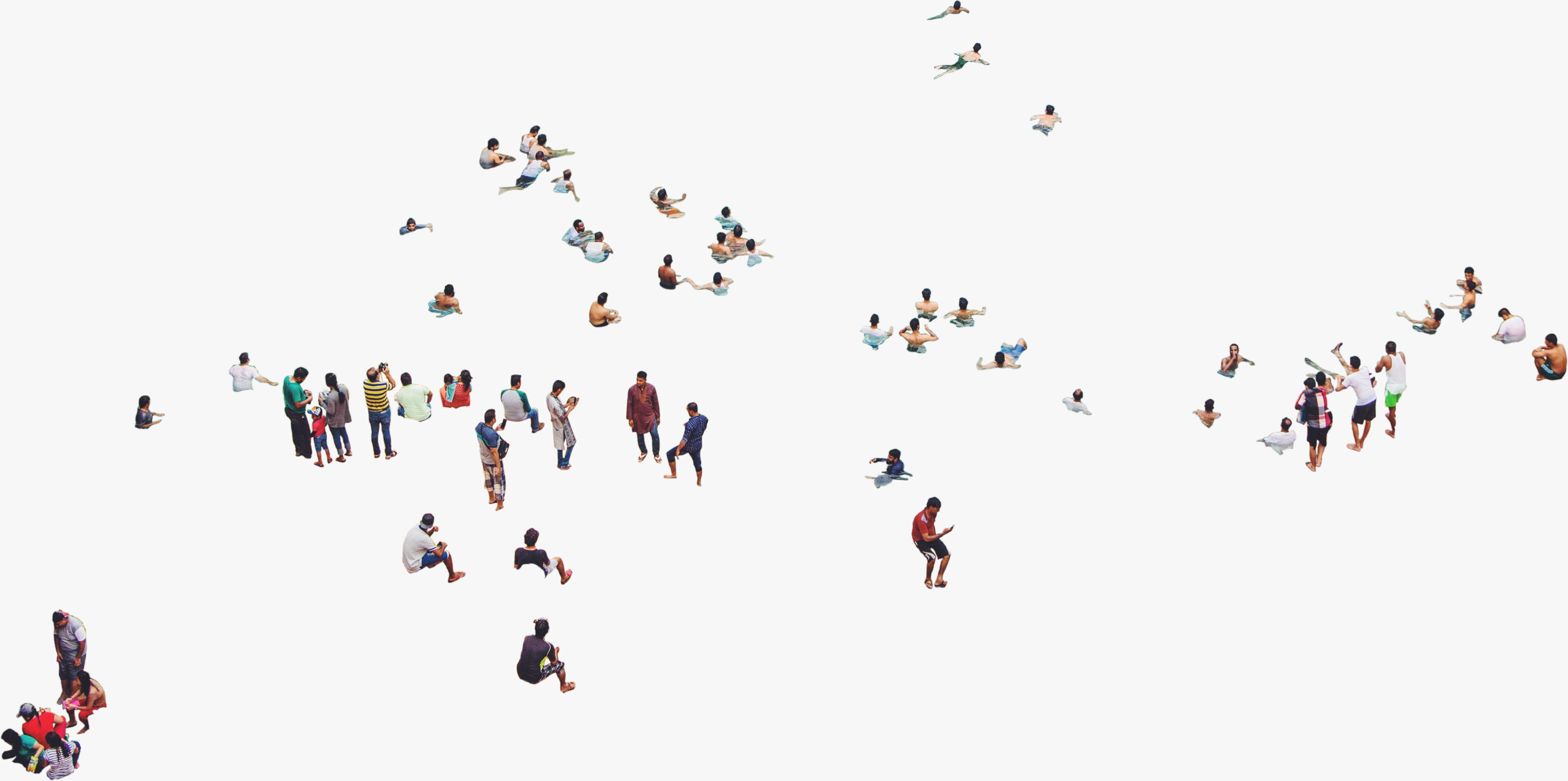 Group Of People At Beach Aerial View Png Aerial View People Png People Cutout