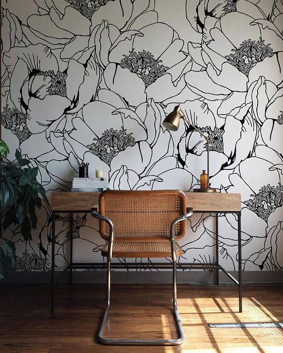 Monochrome Floral Wallpaper Wall Mural Floral Home Décor
