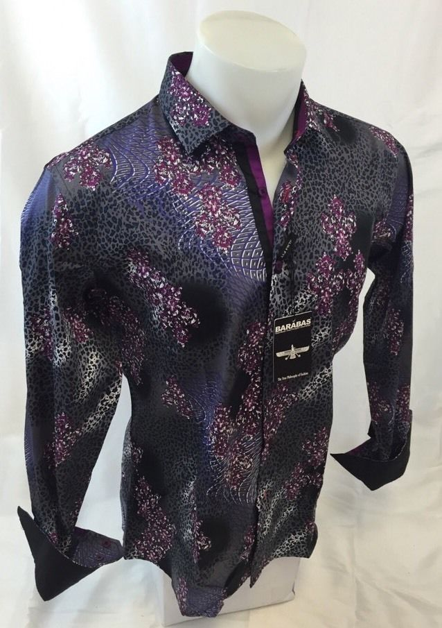 125a6ea6f132 Mens BARABAS Designer Shirt Woven Sport Silver LEOPARD Print Button Up NWT  313 #BARABAS #ButtonFront Size/Small (**)