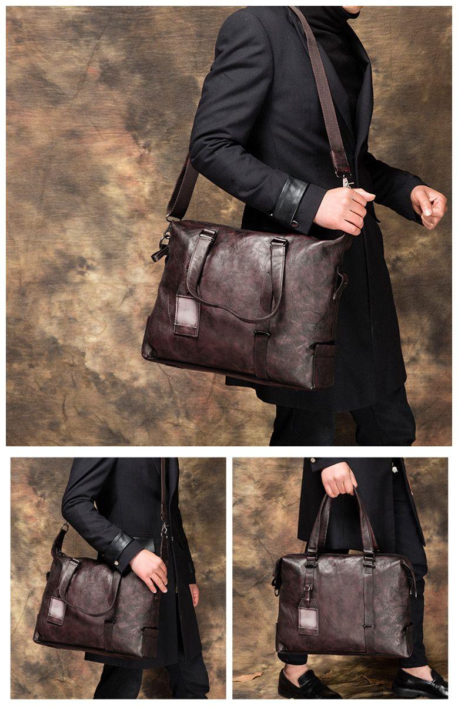 8f0aaf187c95 Handcrafted Full Grain Genuine Leather Business Briefcase Men Messenger Bag  Laptop Bag