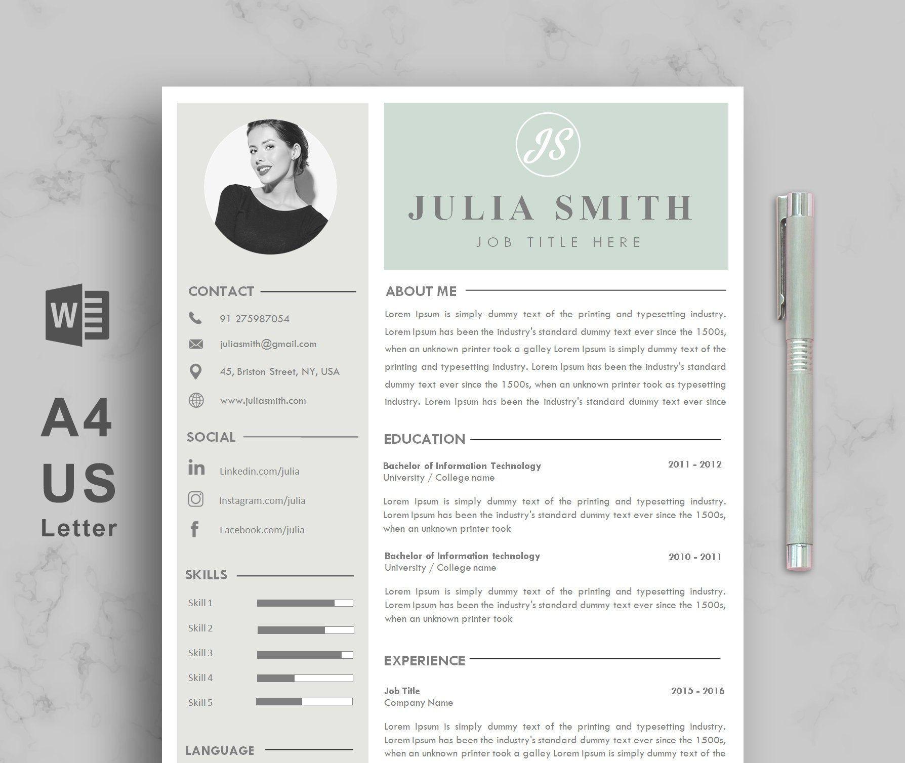 Resume Template, CV Template, Minimalist Resume, Resume