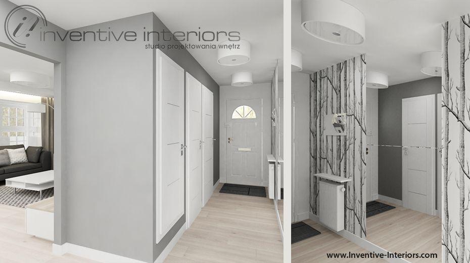 Projekt Przedpokoju Inventive Interiors Szarość I Tapeta W
