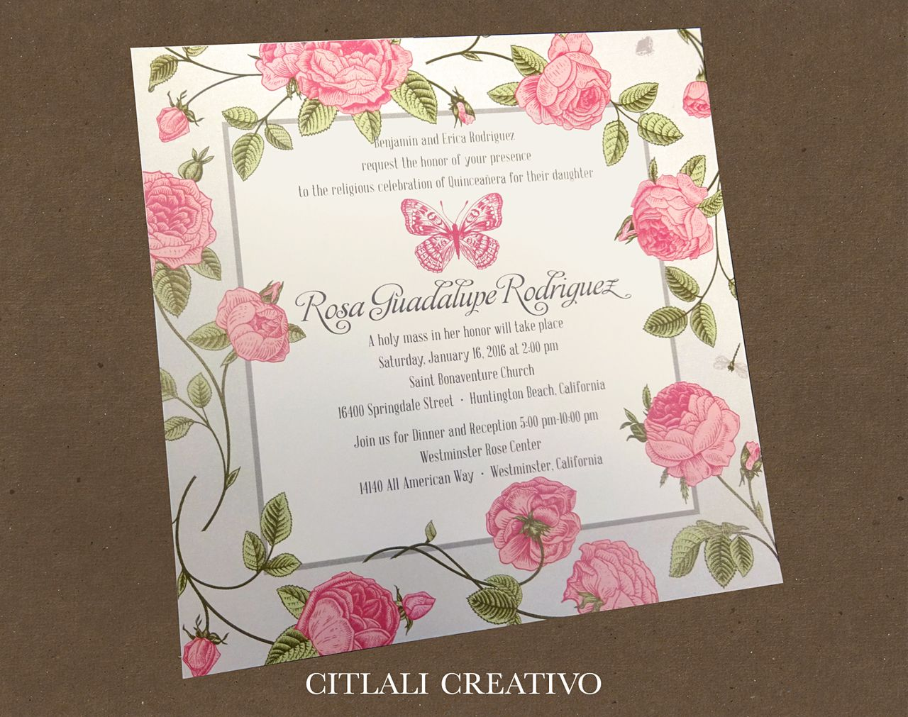 lotus flower wedding invitations%0A Vintage Butterfly  u     Roses Pink Quincea  era Birthday Invitations  made to  order by citlalicreativo com