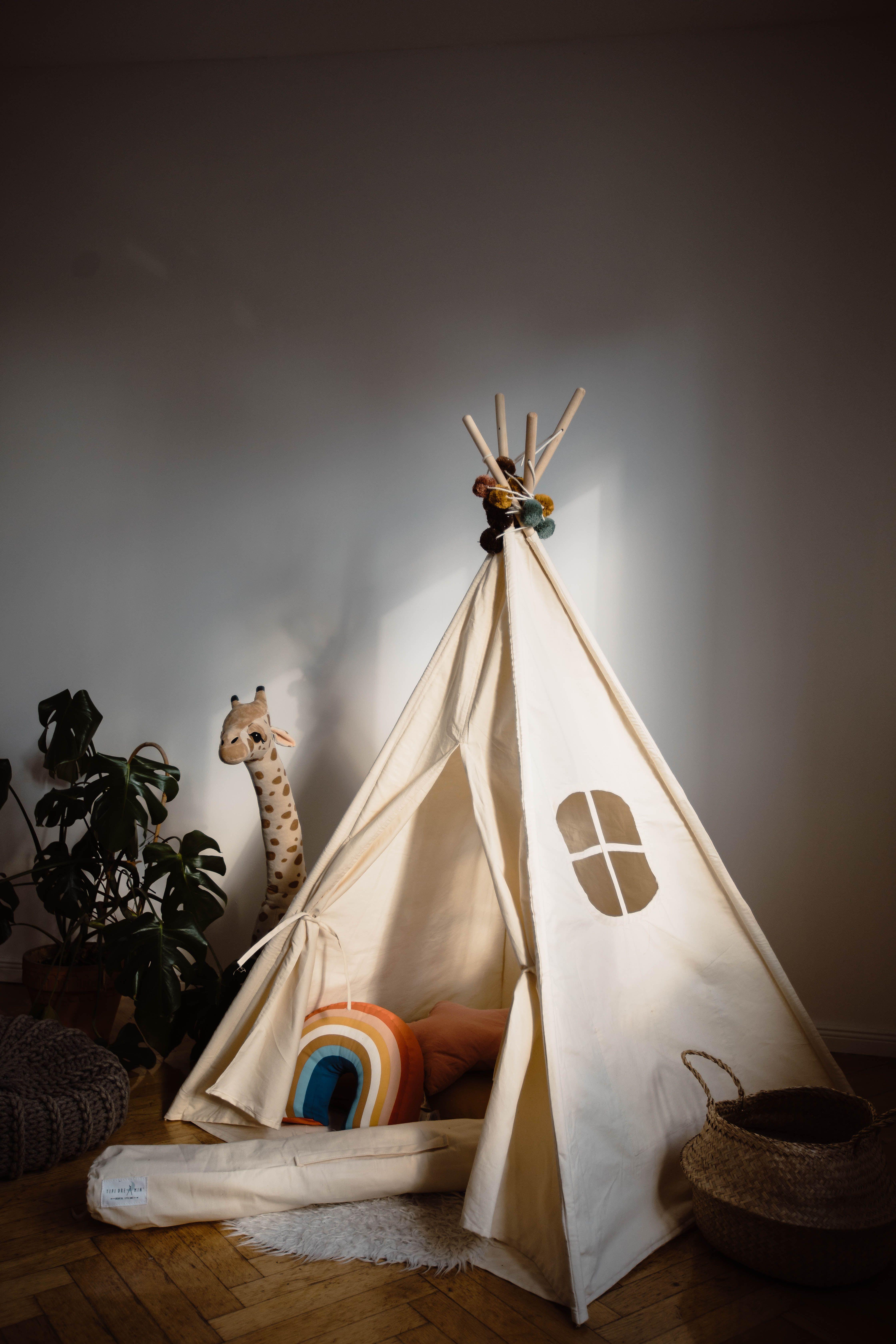Perfect Tipi Tent! 100% Handmade in EU 🇪🇺 Teepee! White and Ecru